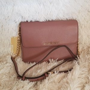 NWT MICHAEL KORS Leather Dusty Rose Crossbody Bag